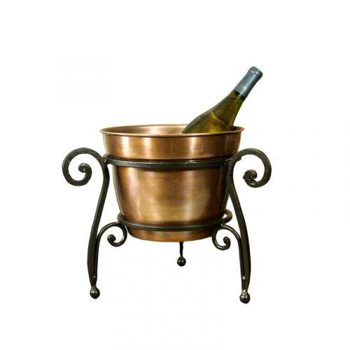 Copper Bucket & Iron Wine Holder Set of 2