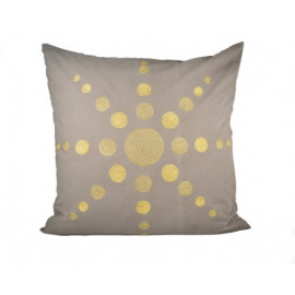 Gold Sunburst Design Grey Accent Throw Pillow