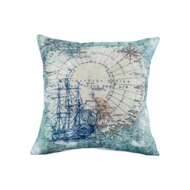 Nautical Ship Map Pillow Cream & Blues