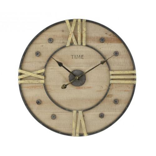 Worn Wood Metal Roman Numeral Industrial Wall Clock