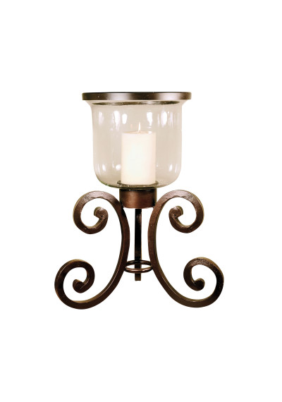 Rustic Iron & Glass Table Top Candle Holder