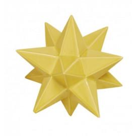 Yellow Ceramic Star Crackle Glaze Finish Table Top Decor