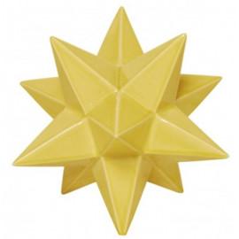 Large Yellow Ceramic Star Crackle Glaze Finish Table Top Decor