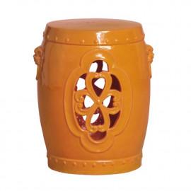 Orange Ceramic Clover Design Garden Stool