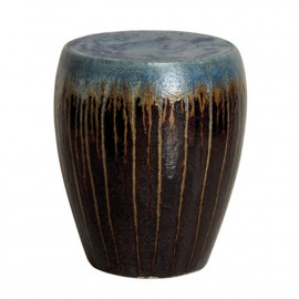 Garden Stool Brown Blue Drip Glaze