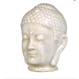 Distressed White Crackle Glaze Buddha Head