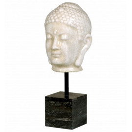 Distressed White Buddha Head on Marble Stand