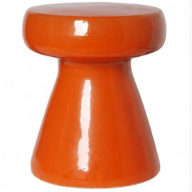 Burnt Orange Mushroom Shape Ceramic Garden Stool Table