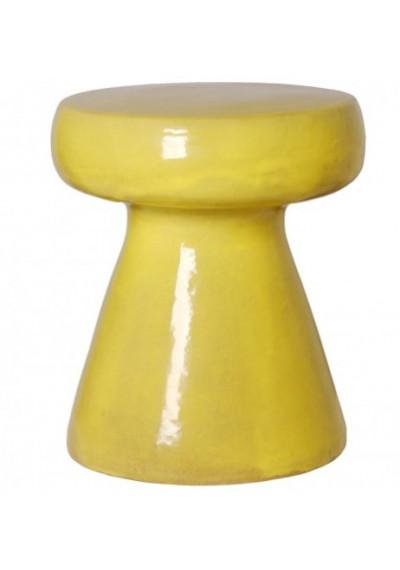 Bright Yellow Mushroom Shape Ceramic Garden Stool Table