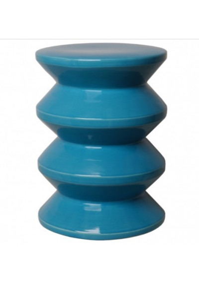 Funky Accordion Turquoise Blue Ceramic Garden Stool Table