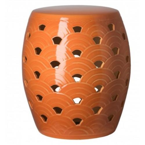 Orange Sunrise Design Garden Stool Table