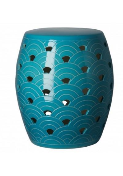 Turquoise Sunrise Design Garden Stool Table