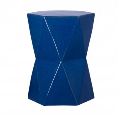 Blue Ceramic Geometric Design Garden Stool Accent Table