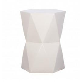 White Ceramic Geometric Design Garden Stool Accent Table