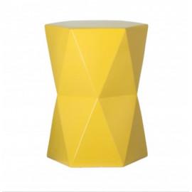 Yellow Ceramic Geometric Design Garden Stool Accent Table