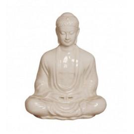 Distressed White Crackle Meditating Buddha