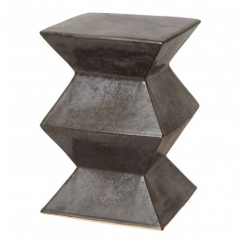 Silver Gunmetal Accordion Ceramic Garden Stool Table