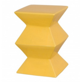 Bright Yellow Accordion Ceramic Garden Stool Table
