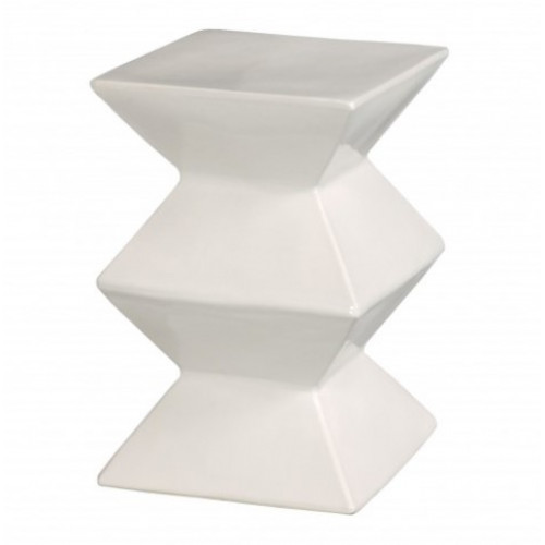Bright White Accordion Ceramic Garden Stool Table
