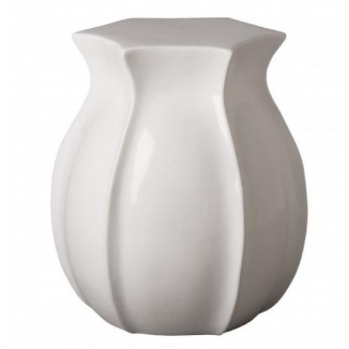 Bright White Tulip Shape Ceramic Garden Stool Table