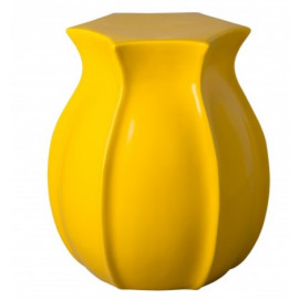 Bright Yellow Tulip Shape Ceramic Garden Stool Table