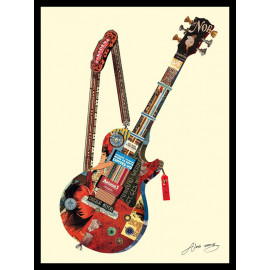 Hand Made Collage Art - Fab Guitar
