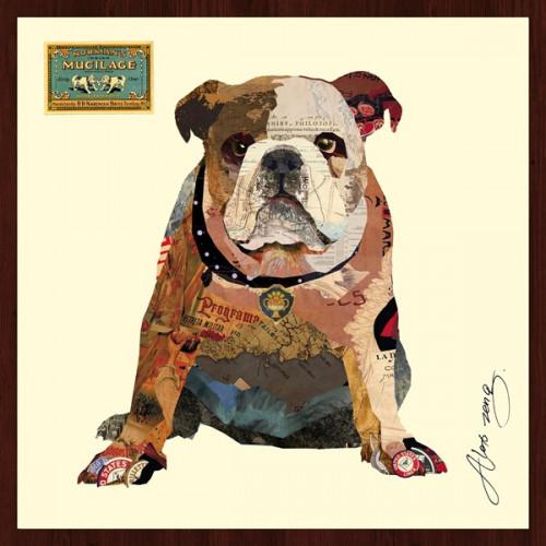 Animal Collage Art - Bulldog