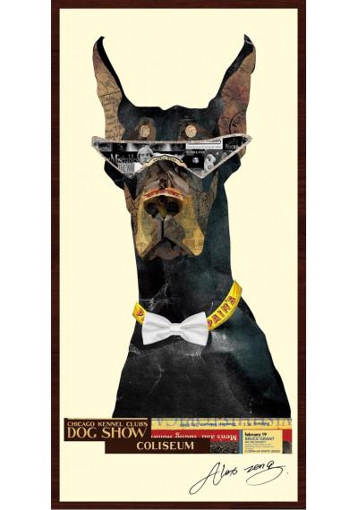 Animal Collage Art - Rock Star Doberman