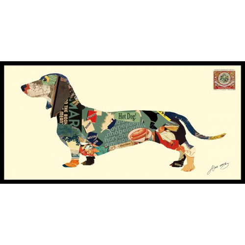 Animal Collage Art - Hot Diggity Dachshund