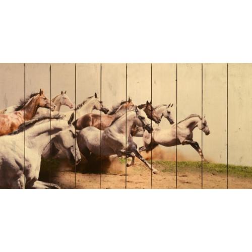 Galloping Horses on Paneled Wood Planks