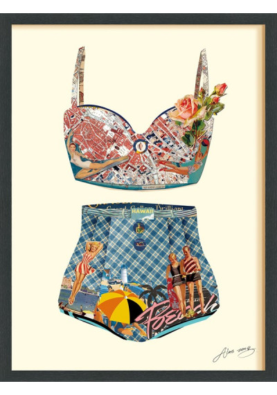 Collage Art - Beach Day Two Piece Bathing Suit