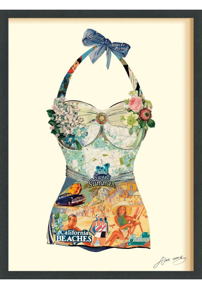 Collage Art - Beach Day One Piece Bathing Suit