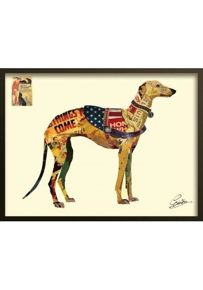 Animal Collage Art - Champion Greyhound