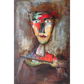 Mixed Media Three Dimensional Abstract Head Art #3