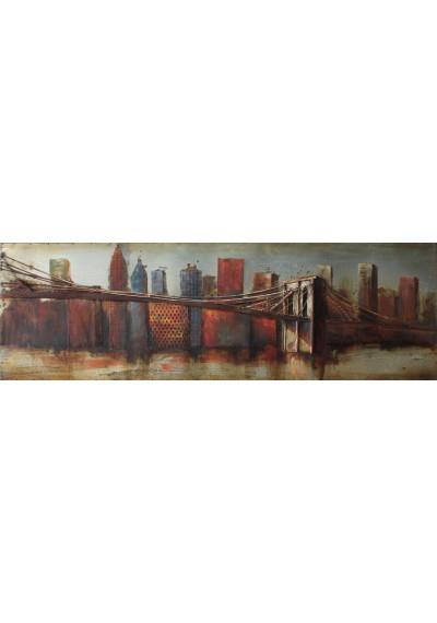Hand Painted Bridge Iron Wall Sculpture Mixed Media