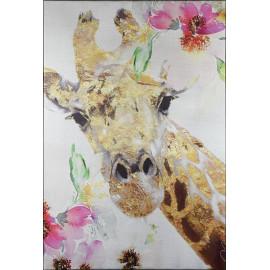 Sweet Giraffe Silver Canvas Giclee Wall Art