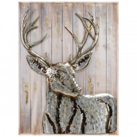 Silver Iron Deer Wall Sculpture on Slatted Solid Wood