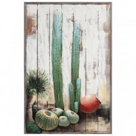 Cacti Desert Scene Three Dimensional Metal Wall Art on Wood