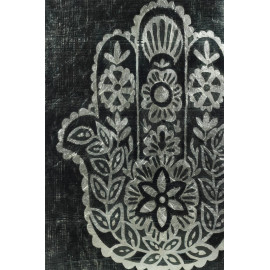 Hamsa Palm Decorative Glass Wall Art with Silver Leaf