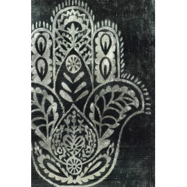 Hamsa Palm Decorative Glass Wall Art with Silver Leaf Accents