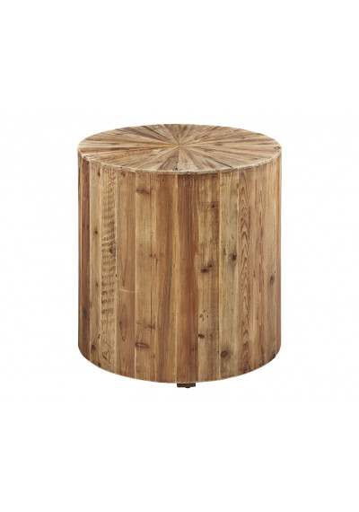 Round Exploding Star Design Fir Wood Accent Side Table