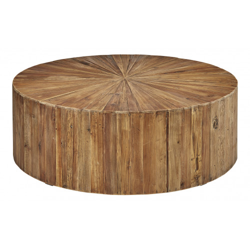 Round Exploding Star Design Fir Wood Coffee Table