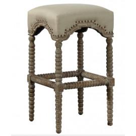 French Chateau Linen & Spindle Oak Leg Stool