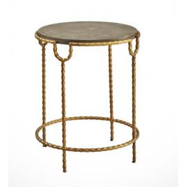 Bluestone & Crimped Golden Iron Accent Table