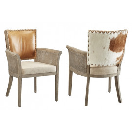 Hair on Hide Leather & Linen Accent Dining Arm Chair