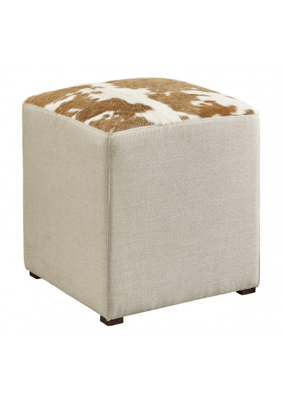 Cow Hide & Neutral Linen Square Cube Footstool Ottoman