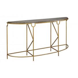 Bluestone & Crimped Golden Iron Console Table