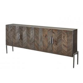 Herringbone Pattern Reclaimed Pine Iron Base Narrow Sideboard Cabinet