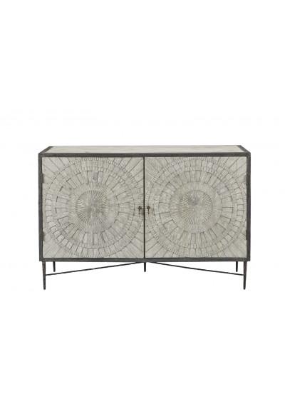 Reclaimed Pine Carved Geometric Design Dark Iron Sideboard Cabinet