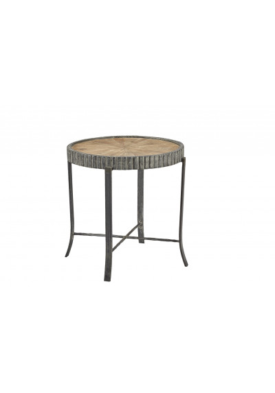 Reclaimed Pine Starburst Design Fluted Iron Band Accent Table